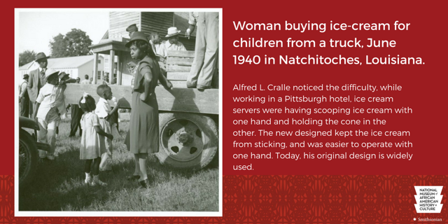 Woman buying ice cream from a truck, small paragraph about Alfred L. Cralle on the right side